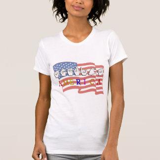 AMERICA FINGERSPELLED USA FLAG T-Shirt