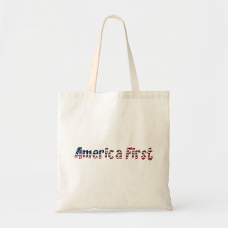 America First American Flag Typography Patriotic Tote Bag