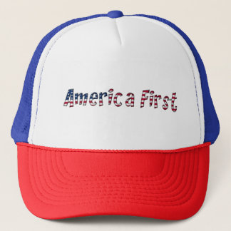 America First American Flag Typography Patriotic Trucker Hat