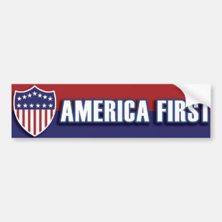 AMERICA FIRST Classic Retro Patriotic Politics USA Bumper Sticker