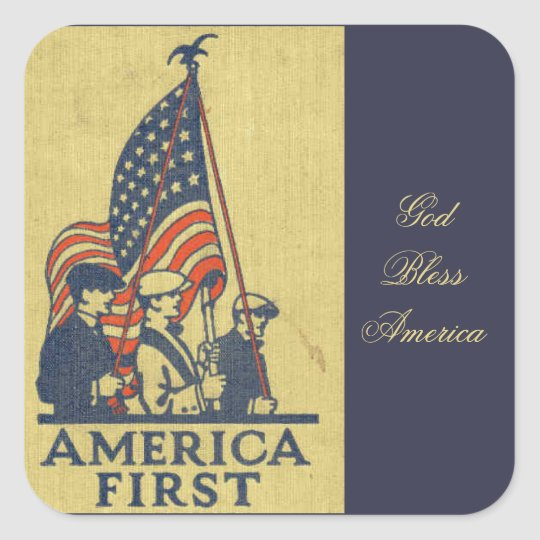 America First Patriots American Flag Vintage Text Square