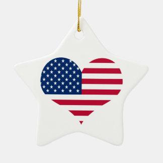 America flag American USA heart Christmas Ornament