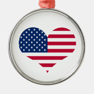 America flag American USA heart Christmas Ornament