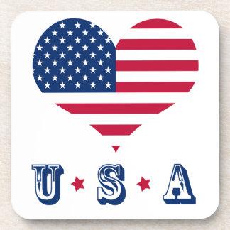 America flag American USA heart Coaster
