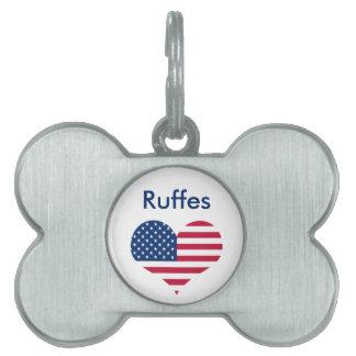 America flag American USA heart Pet Tag