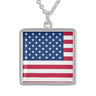 America flag American USA Sterling Silver Necklace