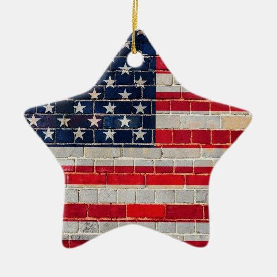America flag on a brick wall christmas ornament