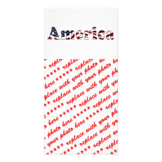 America Flag Text Design Photo Cards