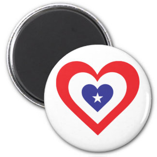 America Heart 6 Cm Round Magnet