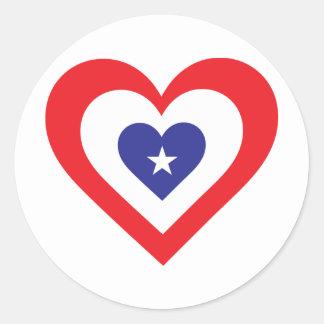 America Heart Classic Round Sticker
