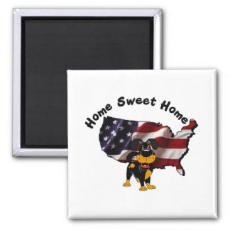 America: Home Sweet Home - USA Silhouette Square Magnet