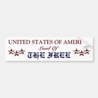 AMERICA LAND OF THE FREE BUMPER STICKER
