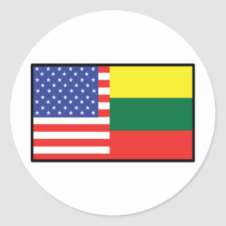 America Lithuania Classic Round Sticker