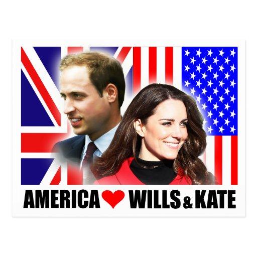 America Loves Wills & Kate Postcard