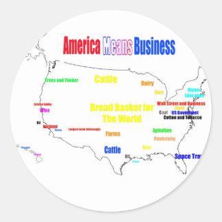 America Means Business Round Sticker