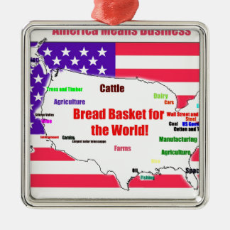 America Means Business Silver-Colored Square Decoration