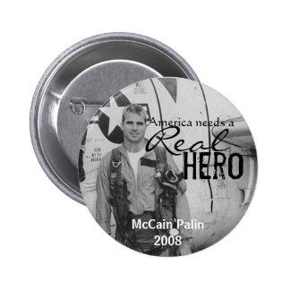 America needs a Real Hero - John McCain button