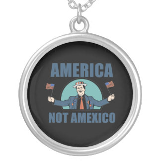 America not Amexico Round Pendant Necklace