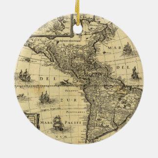 America Noviter Delineata Map (1640) Round Ceramic Decoration