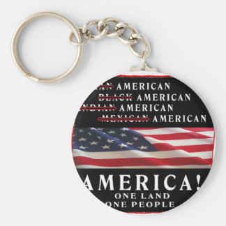 AMERICA - ONE LAND - ONE PEOPLE - USA BASIC ROUND BUTTON KEY RING