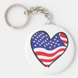 America Patriotic USA Flag Heart Basic Round Button Key Ring