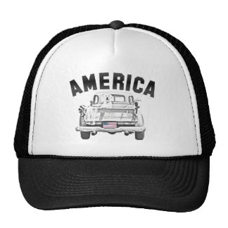 AMERICA Pick-up Truck Dog & US Flag Trucker Hat