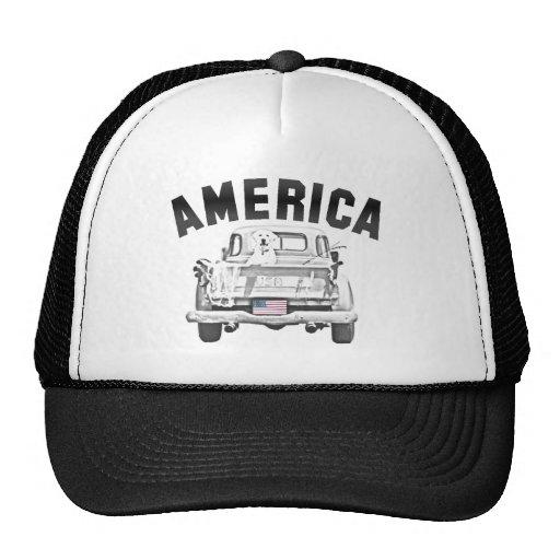 AMERICA Pick-up Truck Dog & US Flag Trucker Hat