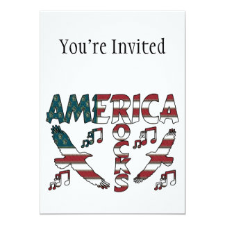 America Rocks With Eagles & Musical Notes 13 Cm X 18 Cm Invitation Card