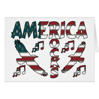 America Rocks With Eagles & Musical Notes Greeting Card