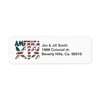 America Rocks With Eagles & Musical Notes Return Address Label