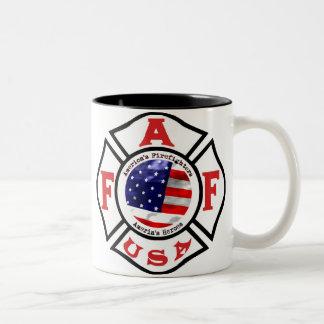 America s Fire Fighters Flag Logo Coffee Mug