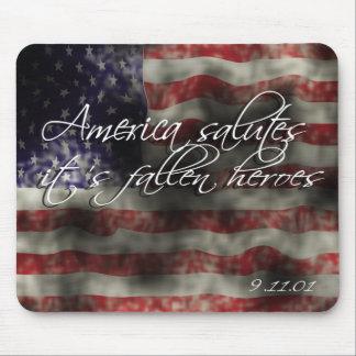 America Salutes it's fallen Heroes 9/11 memorial   Mouse Pad