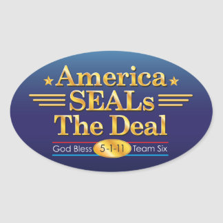 America SEALs The Deal_God Bless Team Six oval Oval Sticker