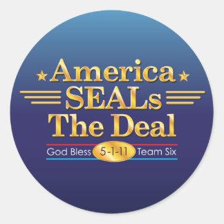 America SEALs The Deal_God Bless Team Six round Round Sticker