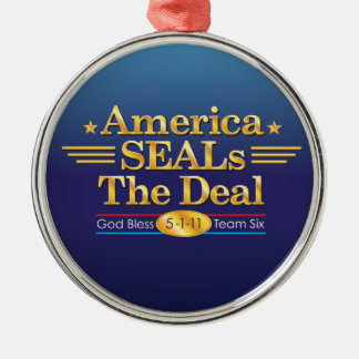 America SEALs The Deal_God Bless Team Six Silver-Colored Round Decoration