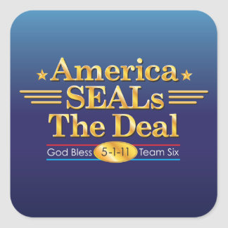 America SEALs The Deal_God Bless Team Six Square Square Sticker