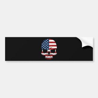 America Skull Flag Skeleton Evil Bumper Sticker