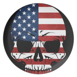 America Skull Flag Skeleton Evil Dinner Plate