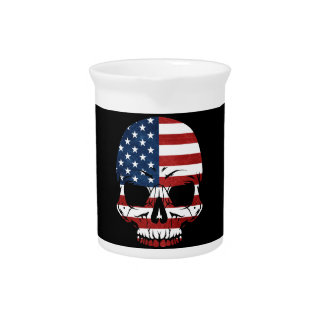 America Skull Flag Skeleton Evil Pitcher