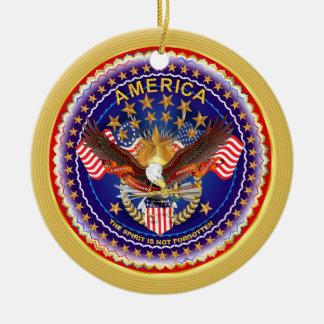 America Spirit Charm  Please See Notes Round Ceramic Decoration