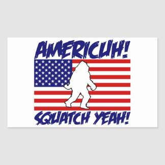 America Squatch Yeah Rectangle Stickers