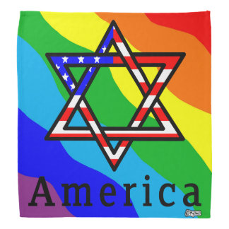 America Star of David Judaism! RAINBOW BANDANA! Bandanna
