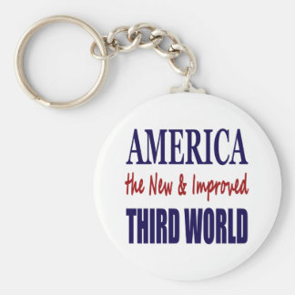 America the New and Improved THIRD WORLD Basic Round Button Key Ring