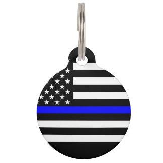 America Thin Blue Line Symbol Pet ID Tag