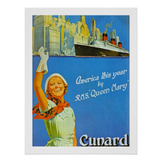 America this Year by RMS Queen Mary Poster
