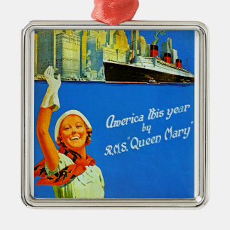 America This Year by RMS Queen Mary Silver-Colored Square Decoration