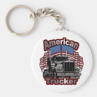 America Trucker Basic Round Button Key Ring