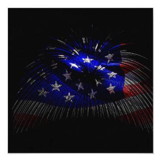 America US Flag 13 Cm X 13 Cm Square Invitation Card