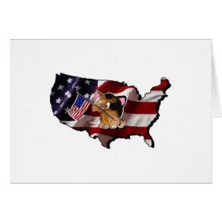 America USA Silhouette and Kitty Card