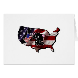 America: USA Silhouette and Kitty Greeting Card
